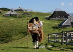 Monte Velika planina com pastores